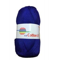 Cotton 8. farve 1220, kongeblå garn g-b cotton 8