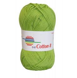 Cotton 8. farve 1423, lys grøn garn g-b cotton 8