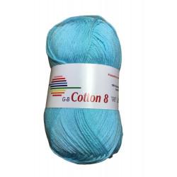 Cotton 8. farve 1460, isblå garn g-b cotton 8
