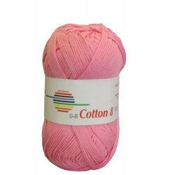 Cotton 8. farve 1490, lyserød garn g-b cotton 8