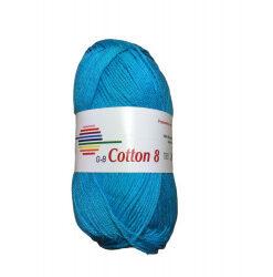 Cotton 8. farve 1520, turkis garn g-b cotton 8