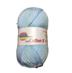 Cotton 8. farve 1541, lyseblå garn g-b cotton 8