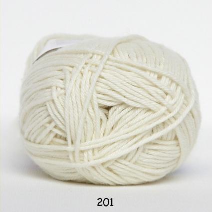 Cotton nr. 8 - Bomuldsgarn - Hæklegarn - fv 201 Råhvid