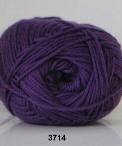 Cotton nr. 8 - Bomuldsgarn - Hæklegarn - fv 3714 Ekstra Mørk Lilla