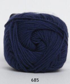 Cotton nr. 8 - Bomuldsgarn - Hæklegarn - fv 685 Mørk Blå