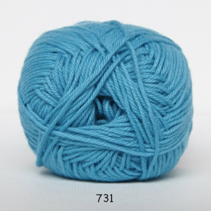 Cotton nr. 8- Bomuldsgarn - Hæklegarn - fv 731 Turkis