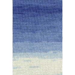 Lang yarns sol dégradé. farve 21, blå/natur bomuldsgarn