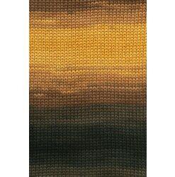 Lang yarns sol dégradé. farve 67, brun/grå/gul bomuldsgarn