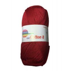 Cotton 8. farve 1092, mørkerød garn g-b cotton 8