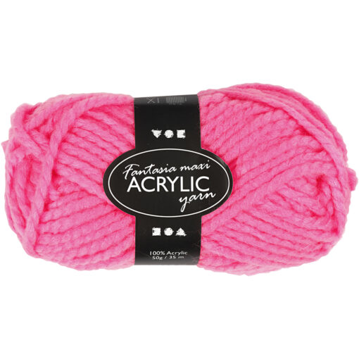 Fantasia Akrylgarn, L: 35 m, neon pink, Maxi, 50g