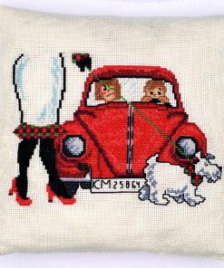 Broderi pude kit - Den Røde VW - 83 - 7118