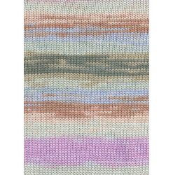 Lang yarns sol dégradé. farve 119, rosa/brun/syren bomuldsgarn