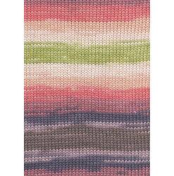 Lang yarns sol dégradé. farve 29, melon/abrikos/oliven bomuldsgarn