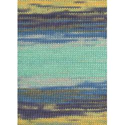 Lang yarns sol dégradé. farve 92, salvie/gul/blå/mint bomuldsgarn
