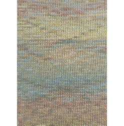 Lang yarns camille. farve 153, lys brun/lys blå/gul bomuldsgarn