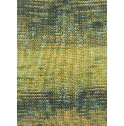 Lang yarns camille. farve 51, guld/blå/oliven bomuldsgarn