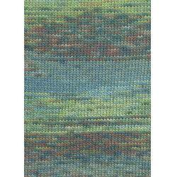 Lang yarns camille. farve 56, grøn/blå/melon bomuldsgarn