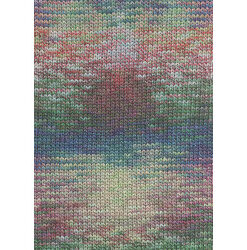 Lang yarns camille. farve 57, grøn/rød/blå bomuldsgarn