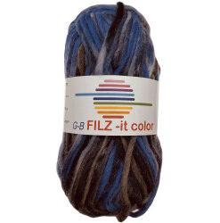 Filz-it blå, grå og brun, farve 150 uldgarn