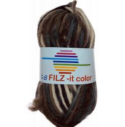 Filz-it brun/grå/sort og natur, farve 148 uldgarn