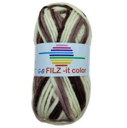 Filz-it brun/natur, farve 128 uldgarn