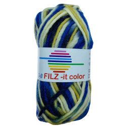 Filz-it marine / beige / natur, farve 142 uldgarn